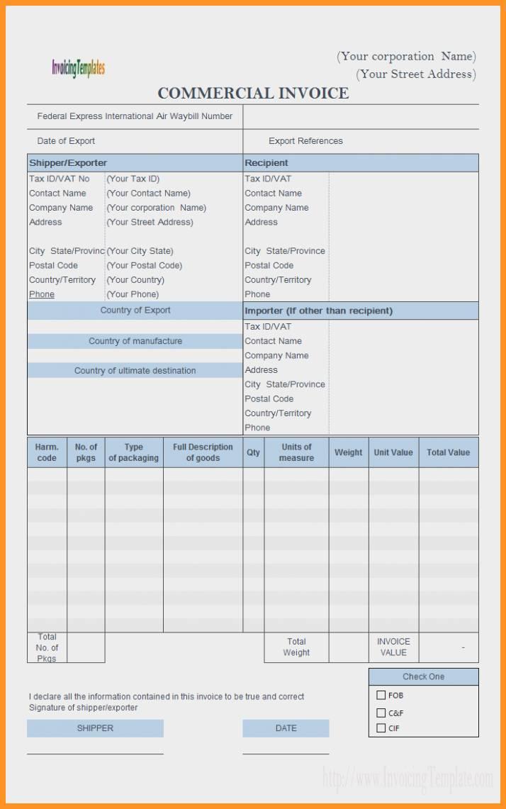 Proforma Invoice Template Xls