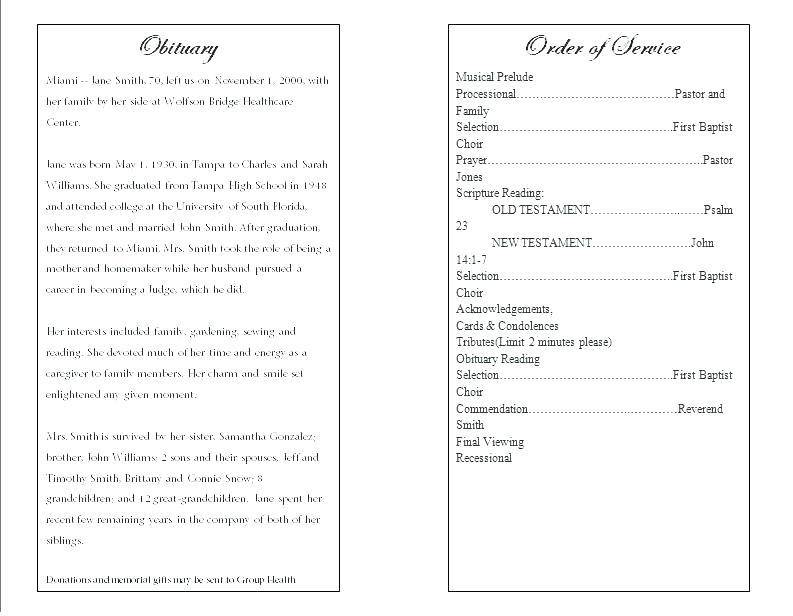 Program For Funeral Service Free Template