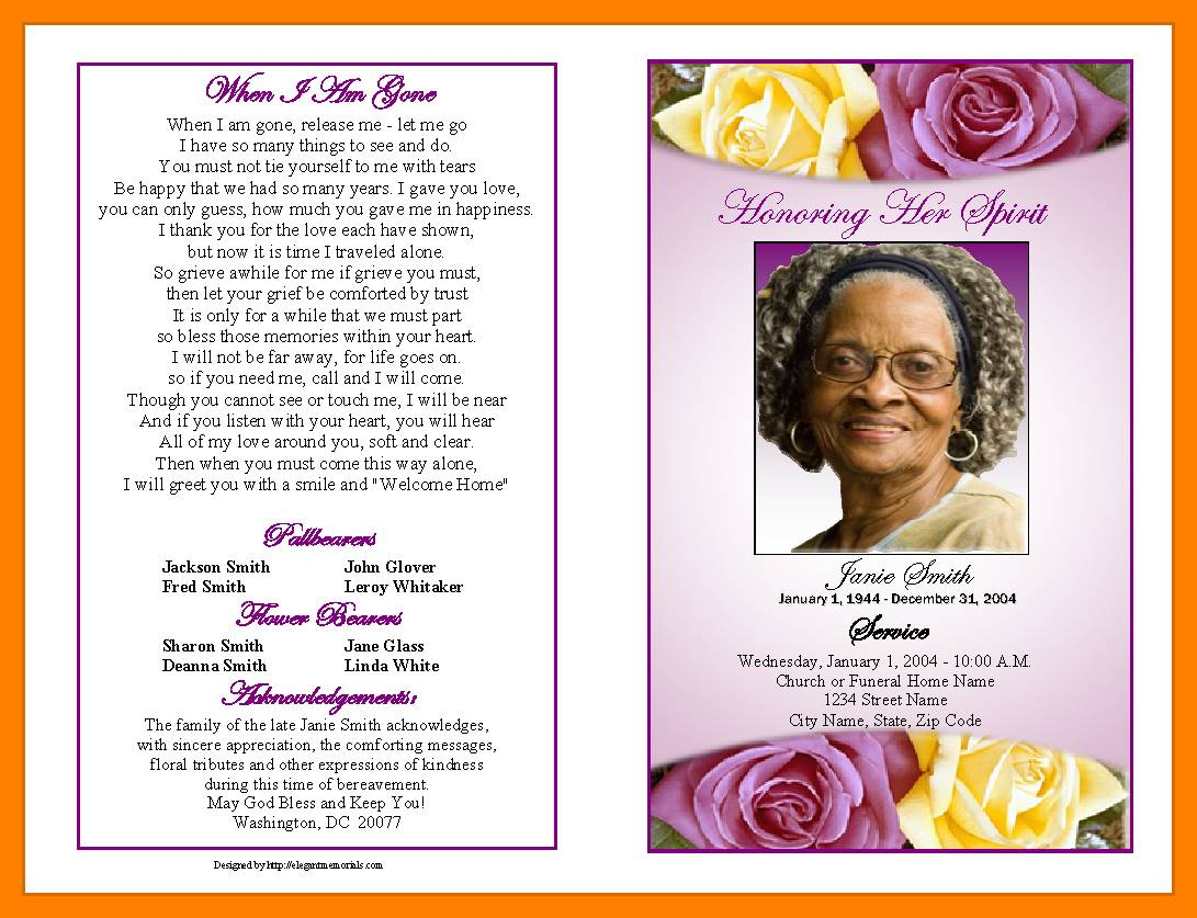 Program For Funeral Template