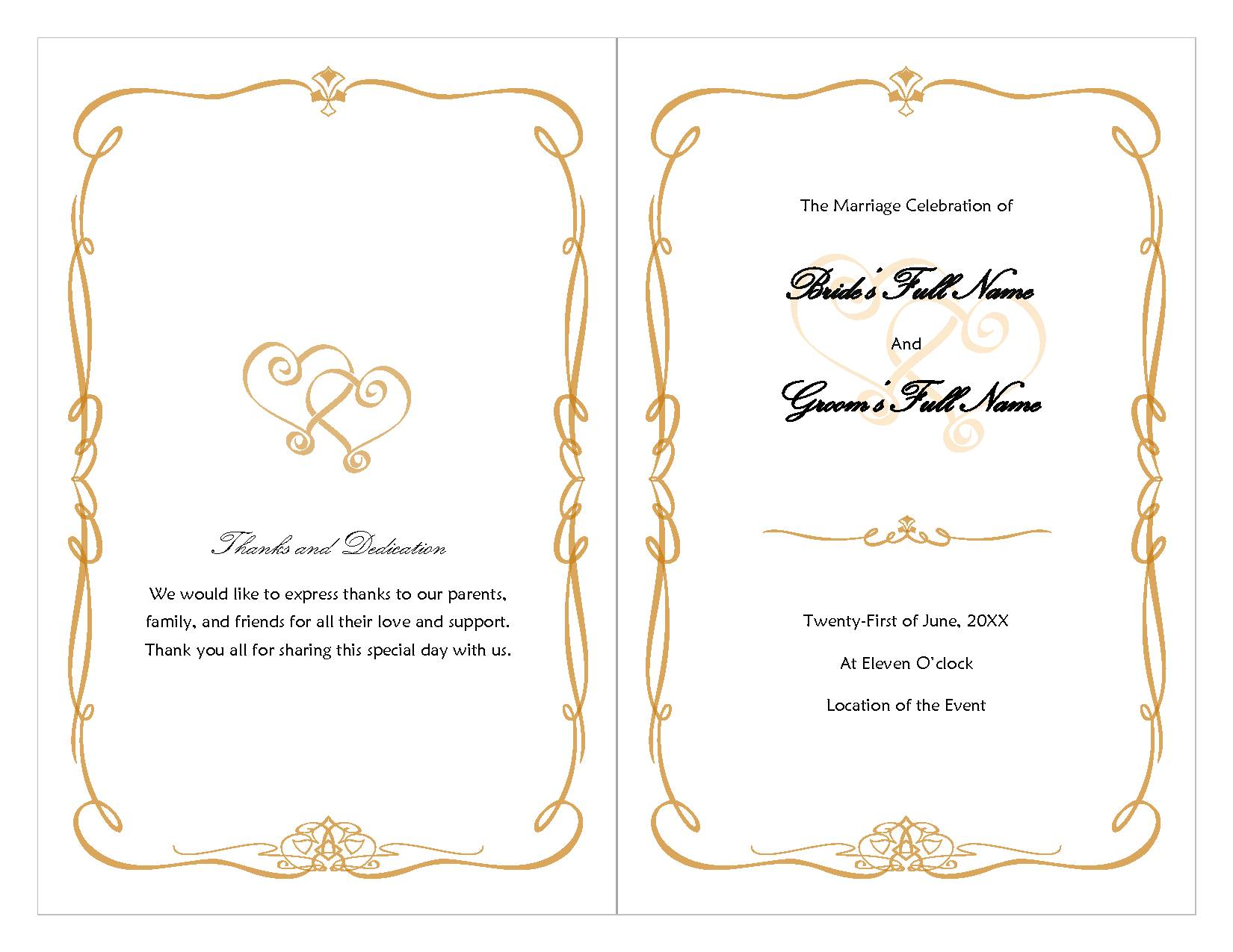 Program Wedding Templates Free Download