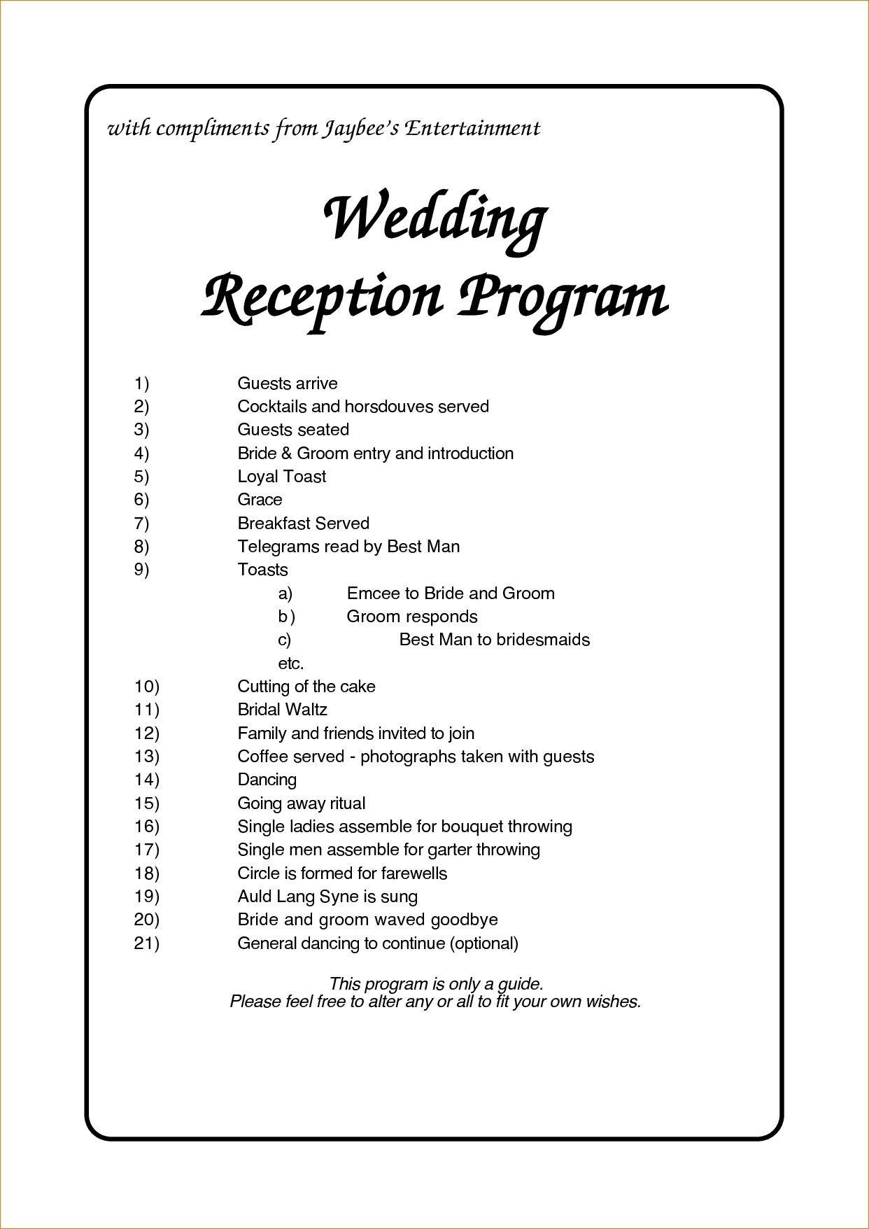 Programs For Wedding Receptions Templates
