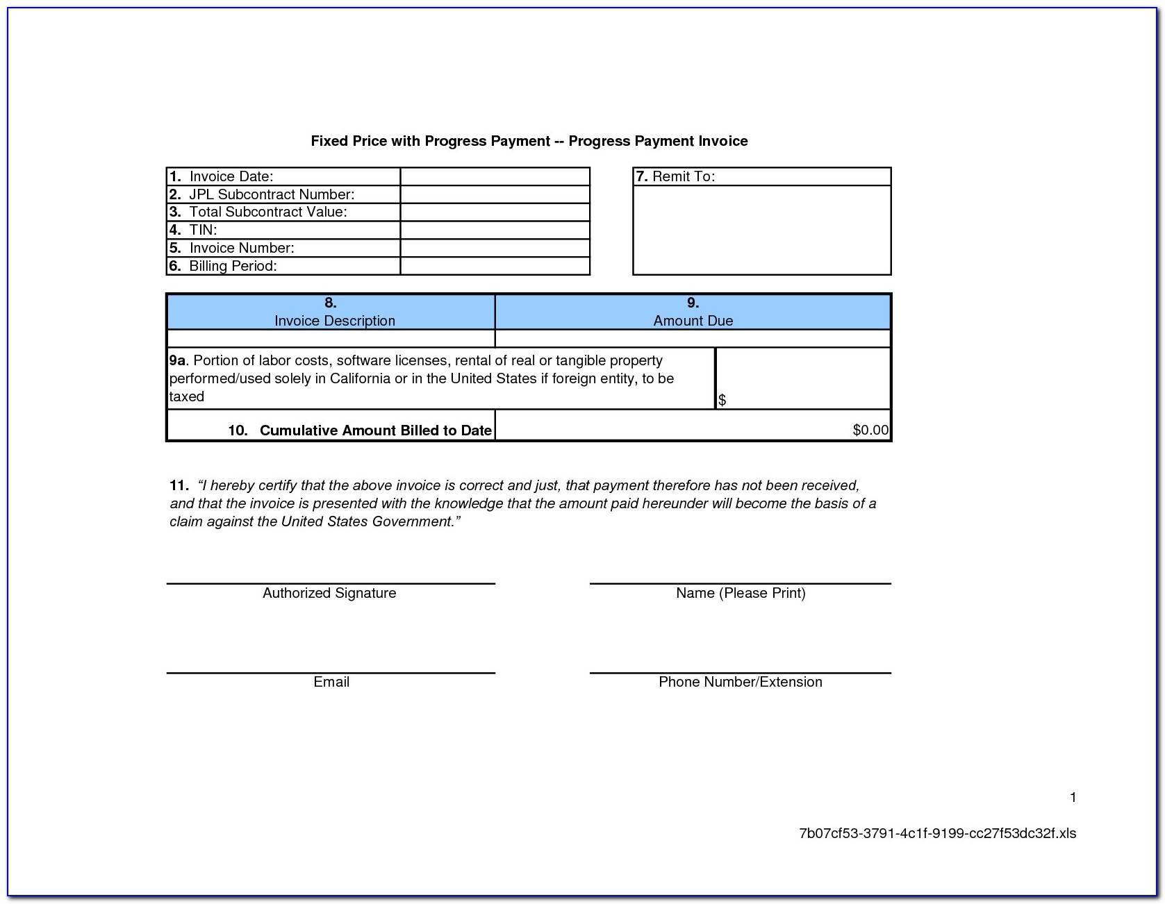 Progress Billing Template Excel