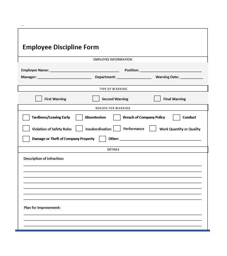 Progressive Disciplinary Action Form Template