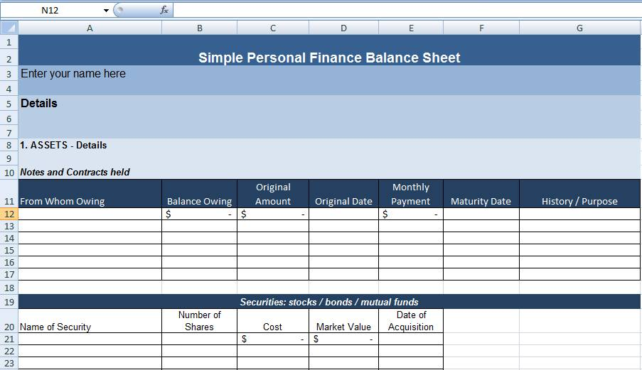 Project Balance Sheet Excel Template