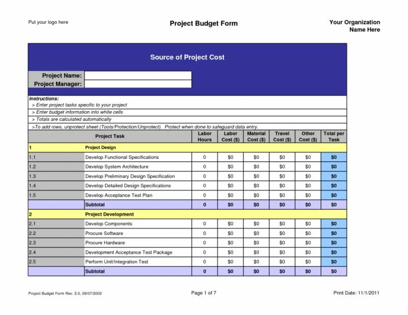 Project Budget Excel Sheet Template