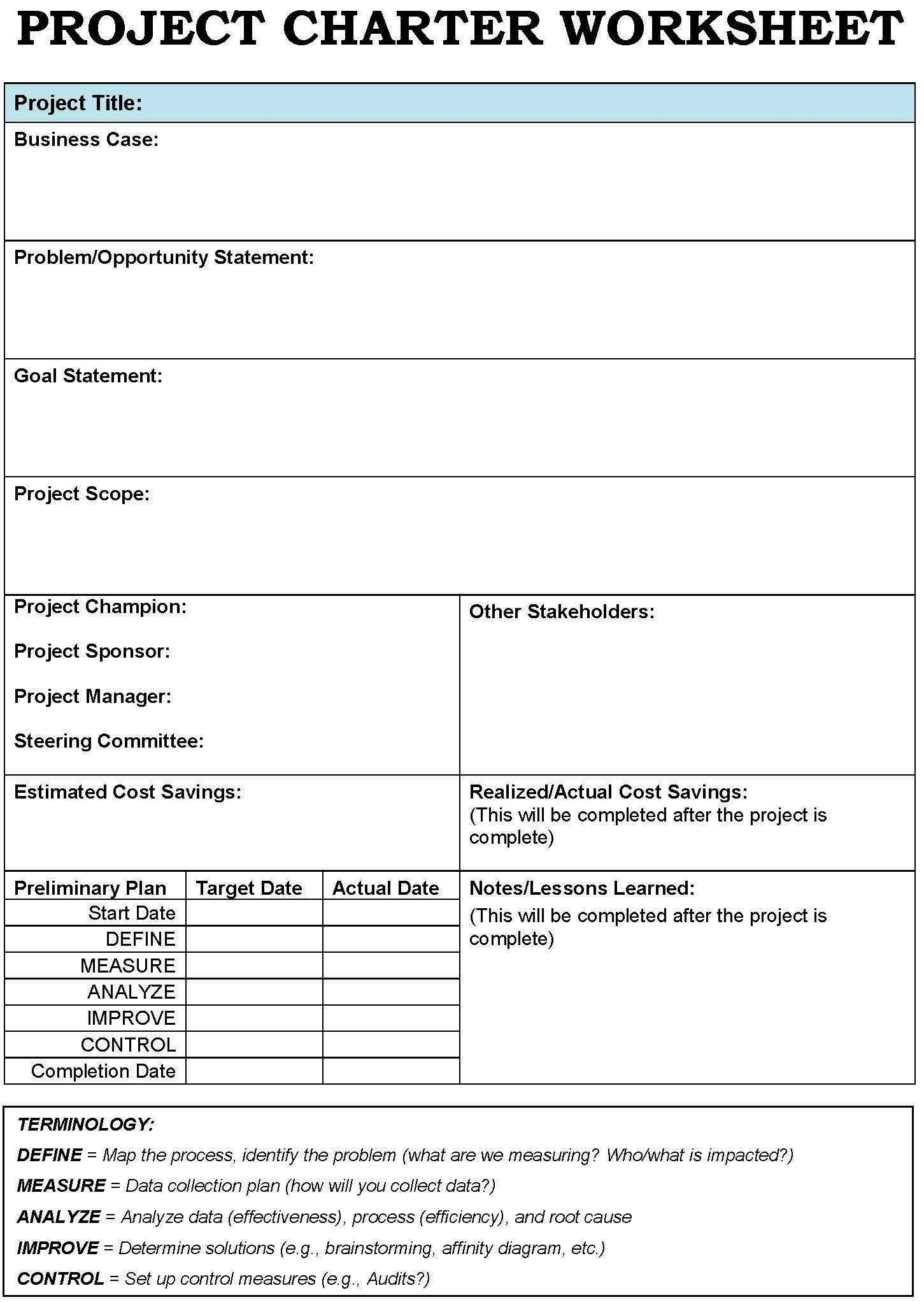 Project Management Charter Example