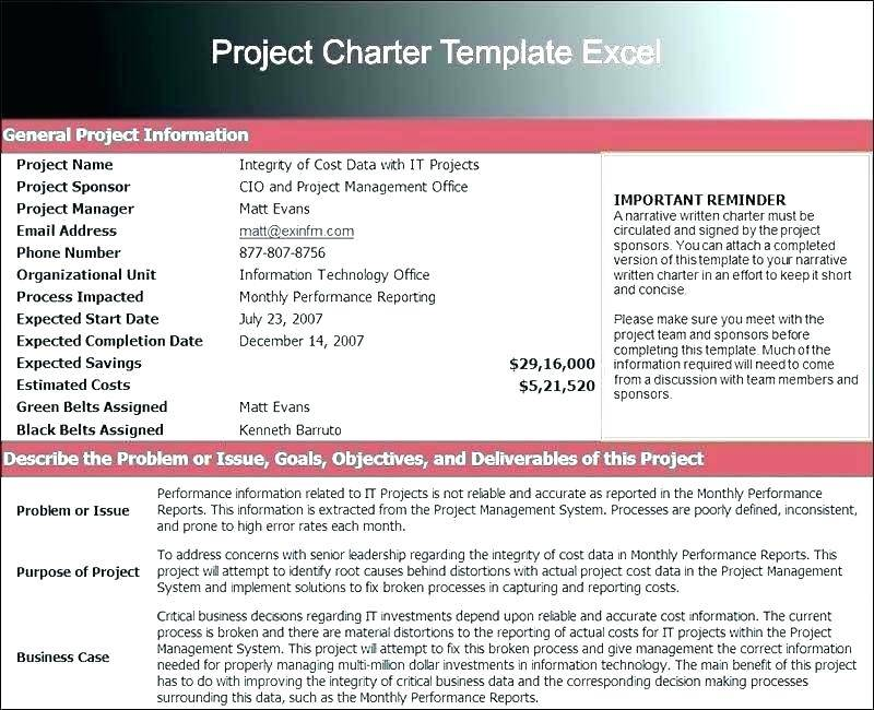 Project Management Institute Project Charter Template