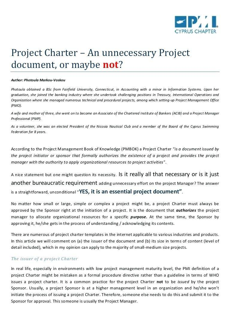 Project Management Office Charter Example