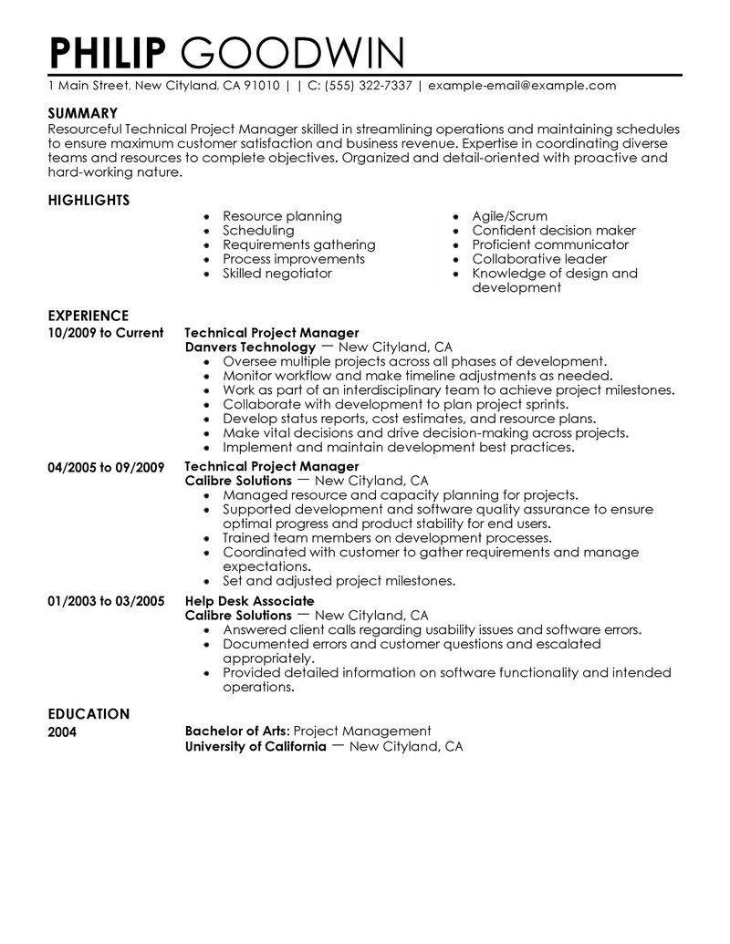 Project Manager Resume Template 2018