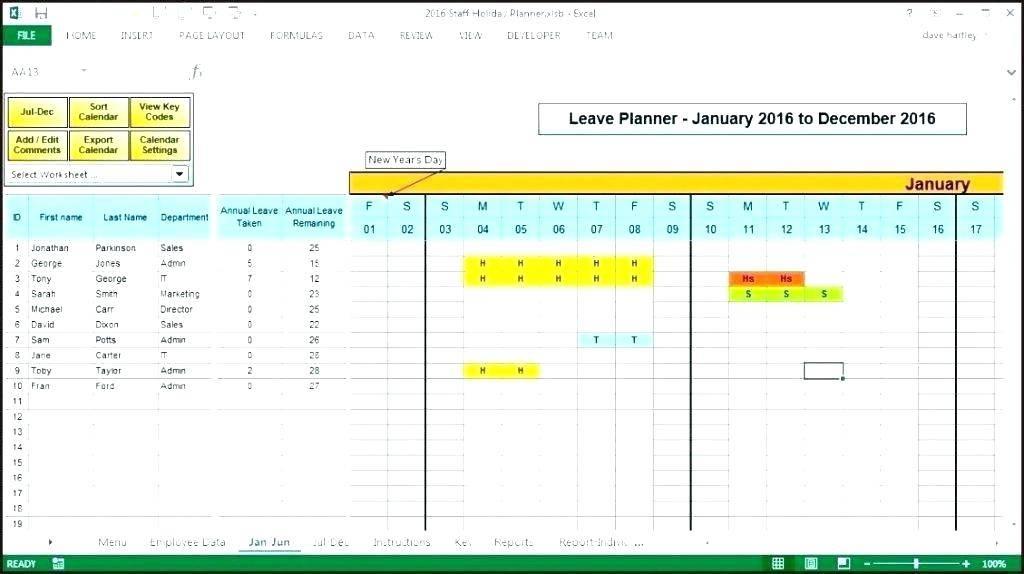 Project Resource Calendar Template Excel