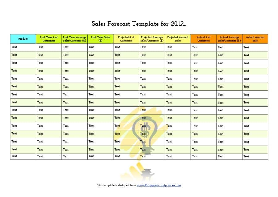 Project Sales Forecast Template