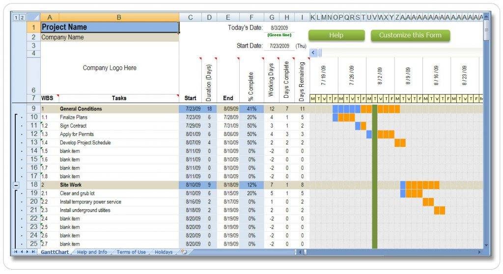 Project Timeline Template Xls Download
