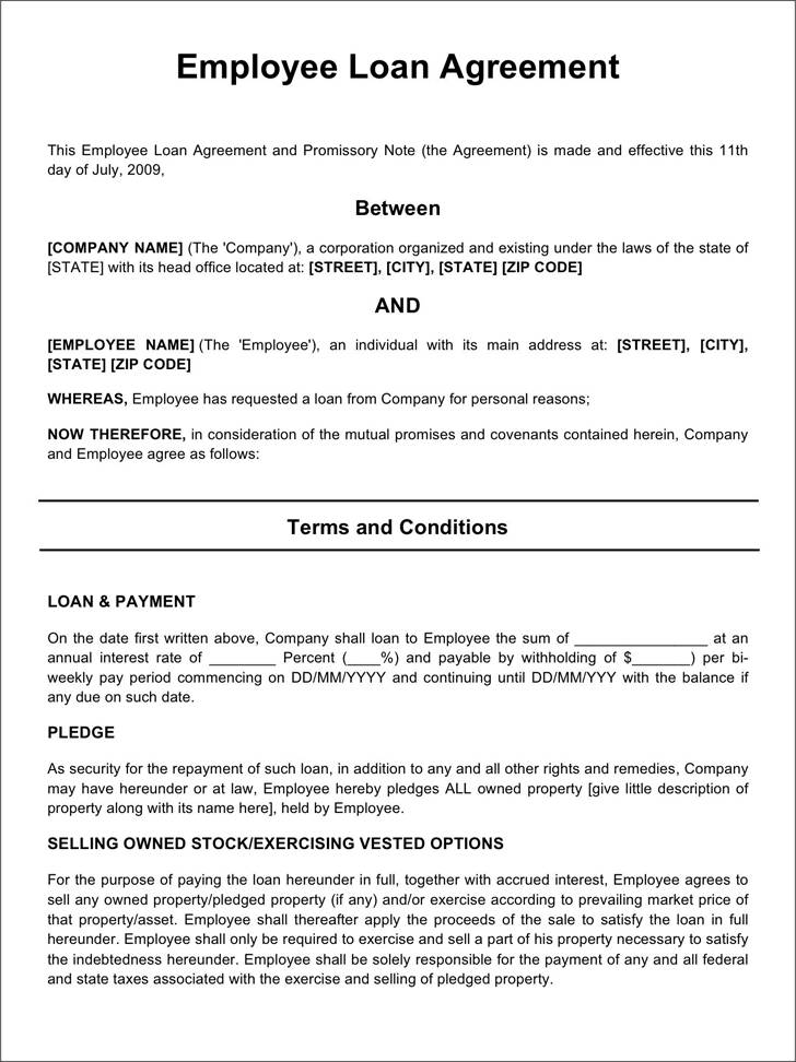 Promissory Note For Personal Loan Template