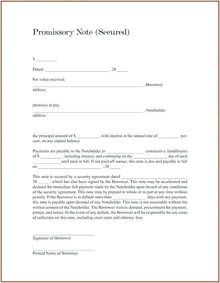 Promissory Note Template Canada Free