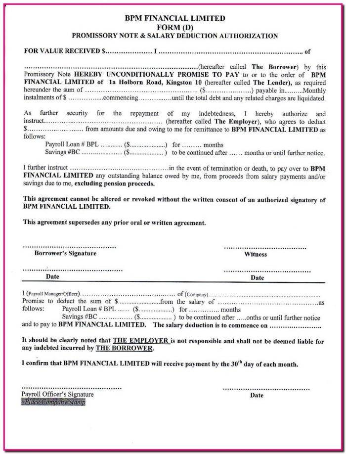 Promissory Note Template Doc
