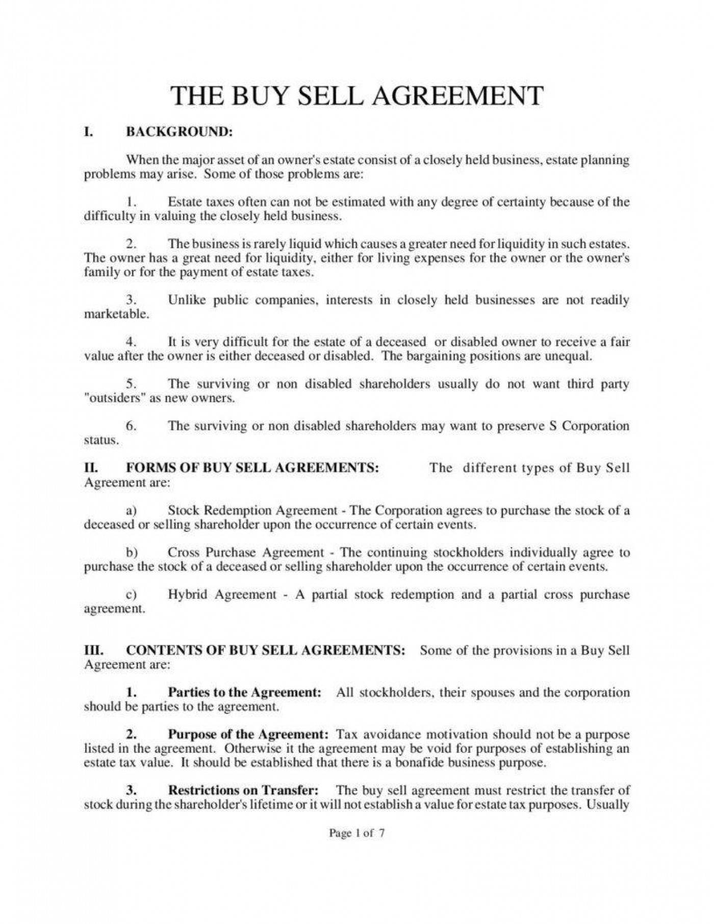Property Buy Sell Agreement Template