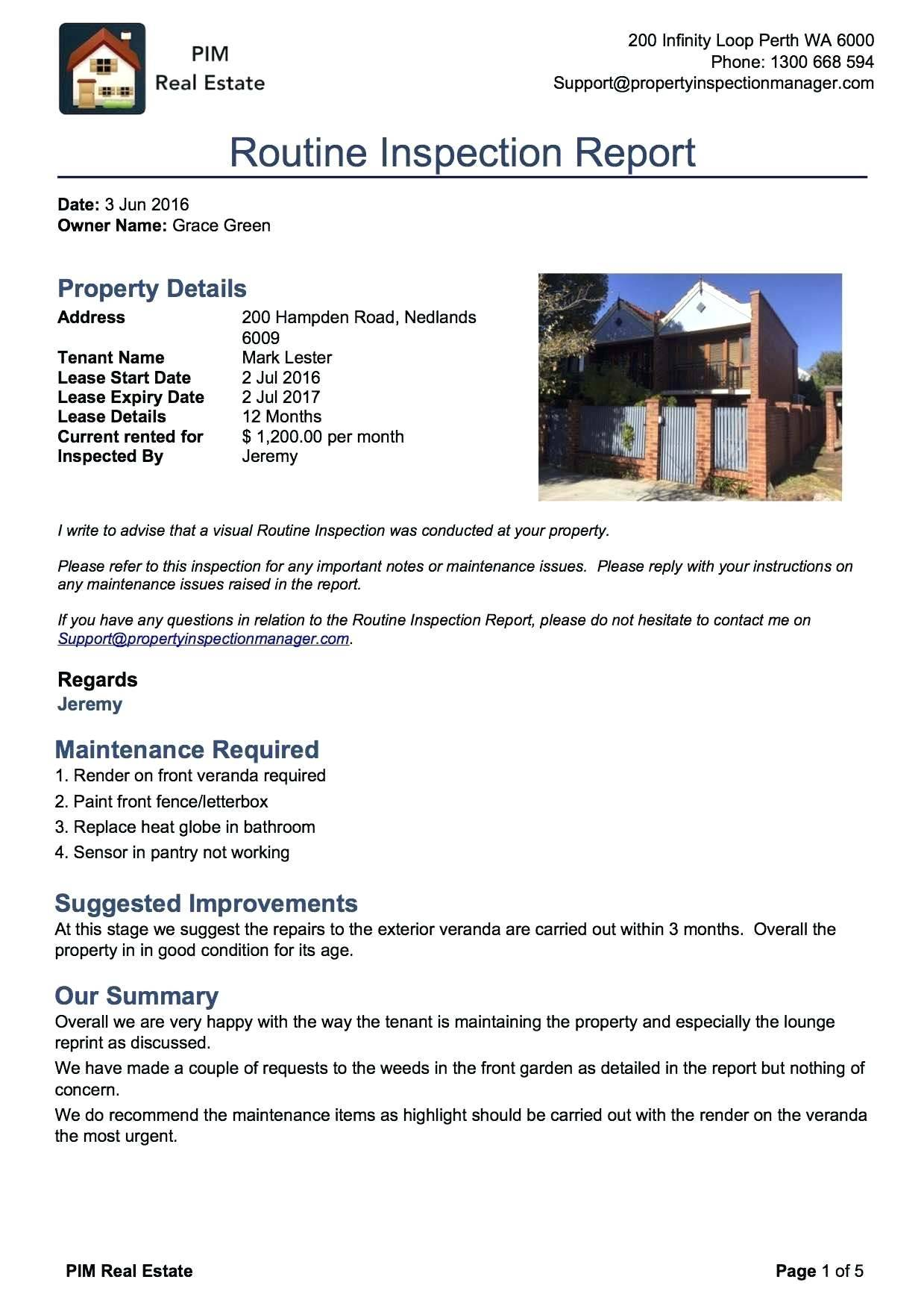 Property Condition Report Template Victoria