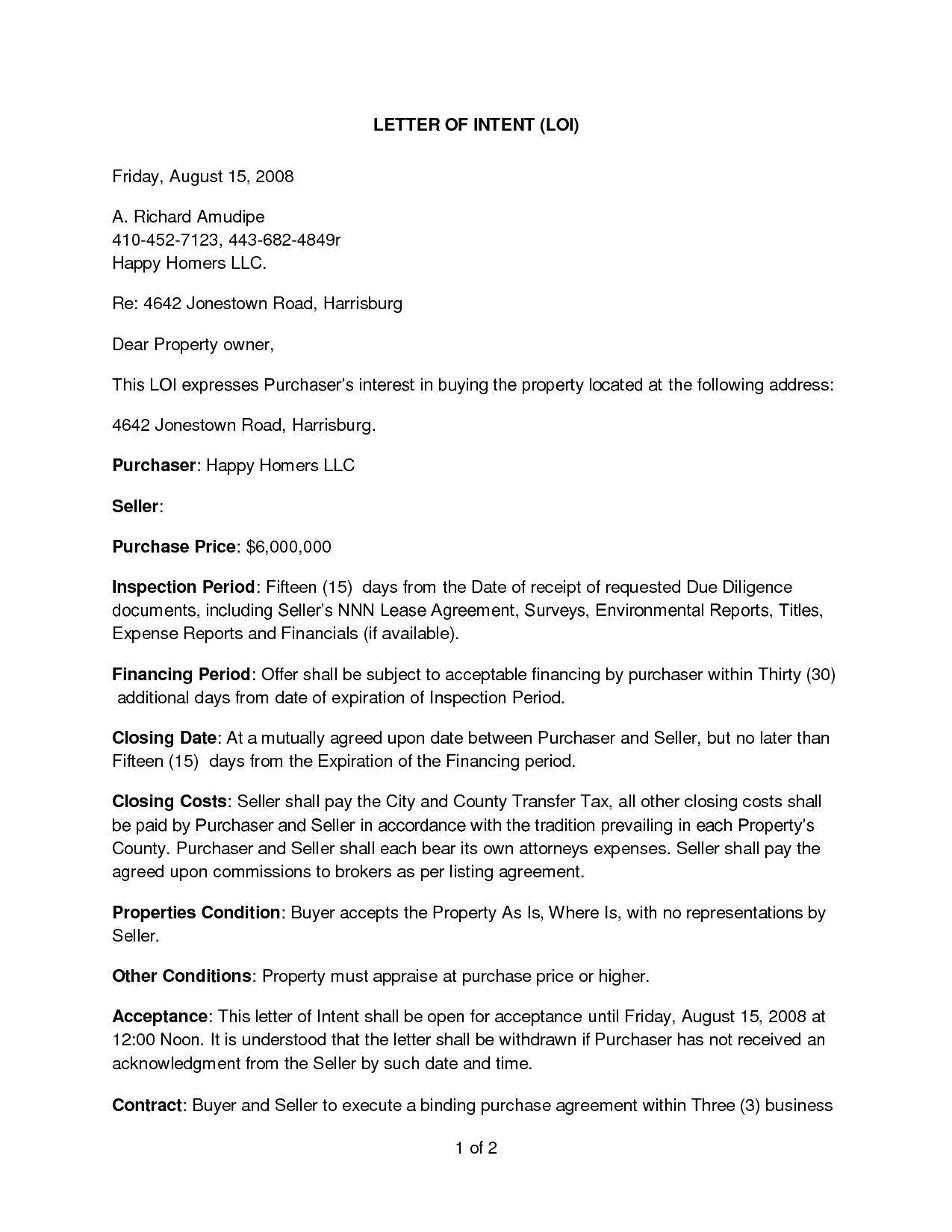 Property Purchase Offer Letter Template
