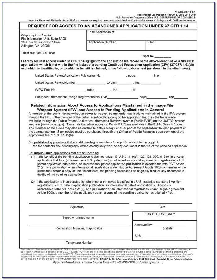 Provisional Patent Application Forms Uspto