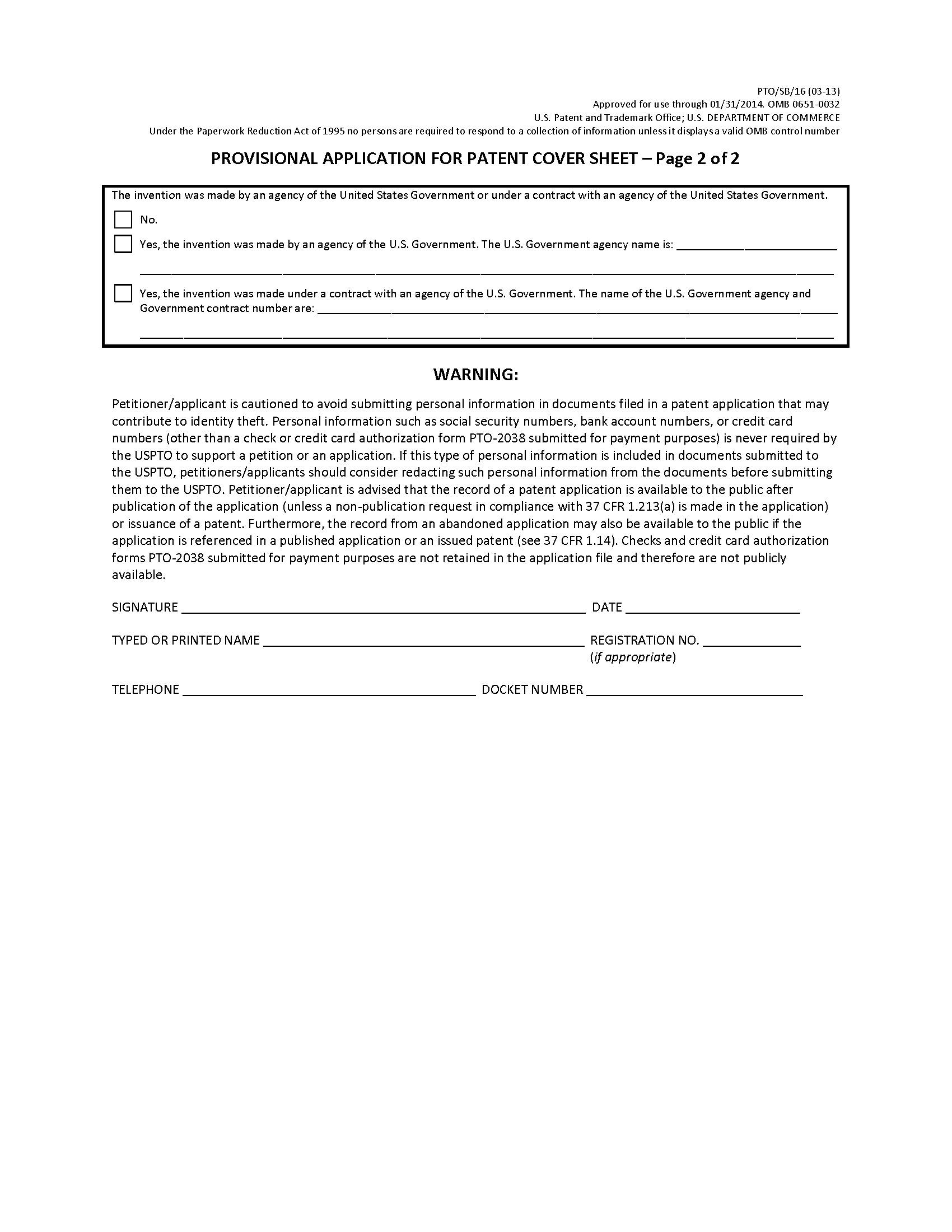 Provisional Patent Application Uspto