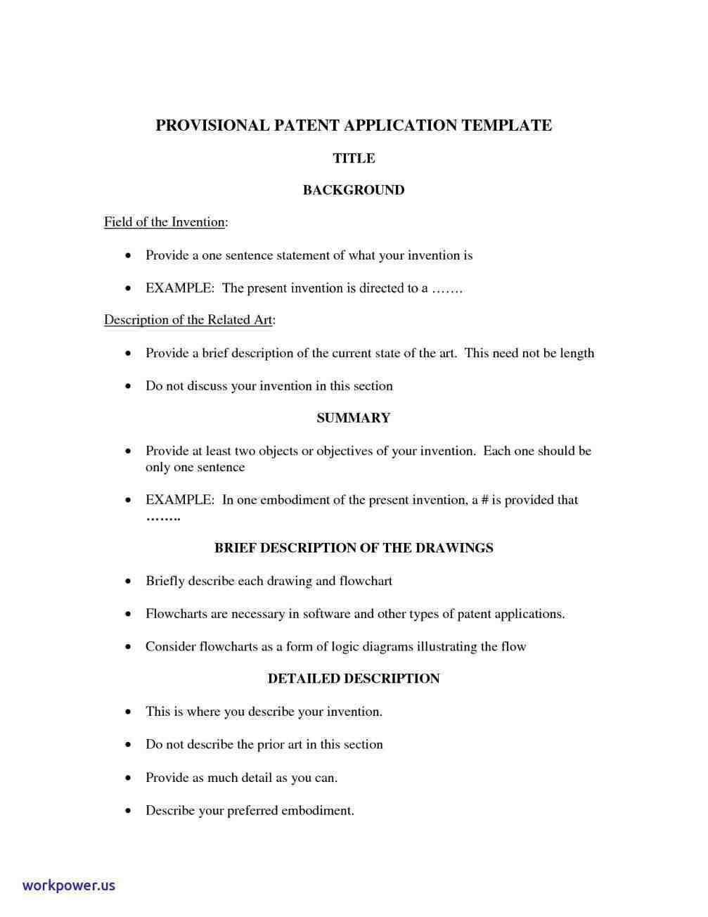Provisional Patent Template Example