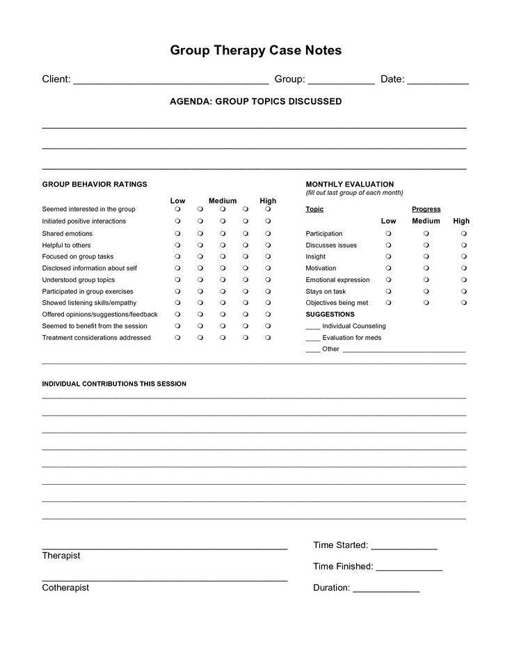 Psychotherapy Case Note Template