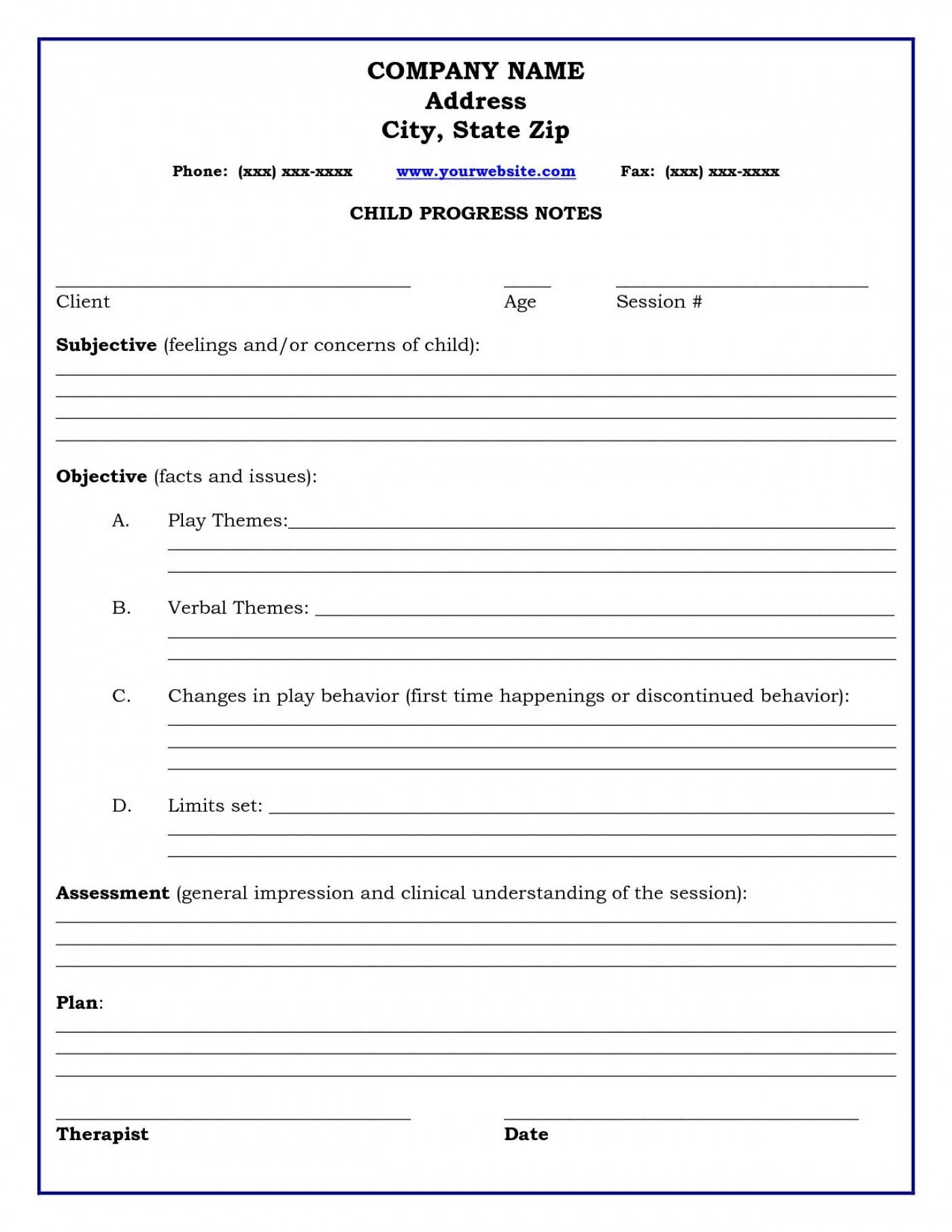 Psychotherapy Progress Notes Template Pdf