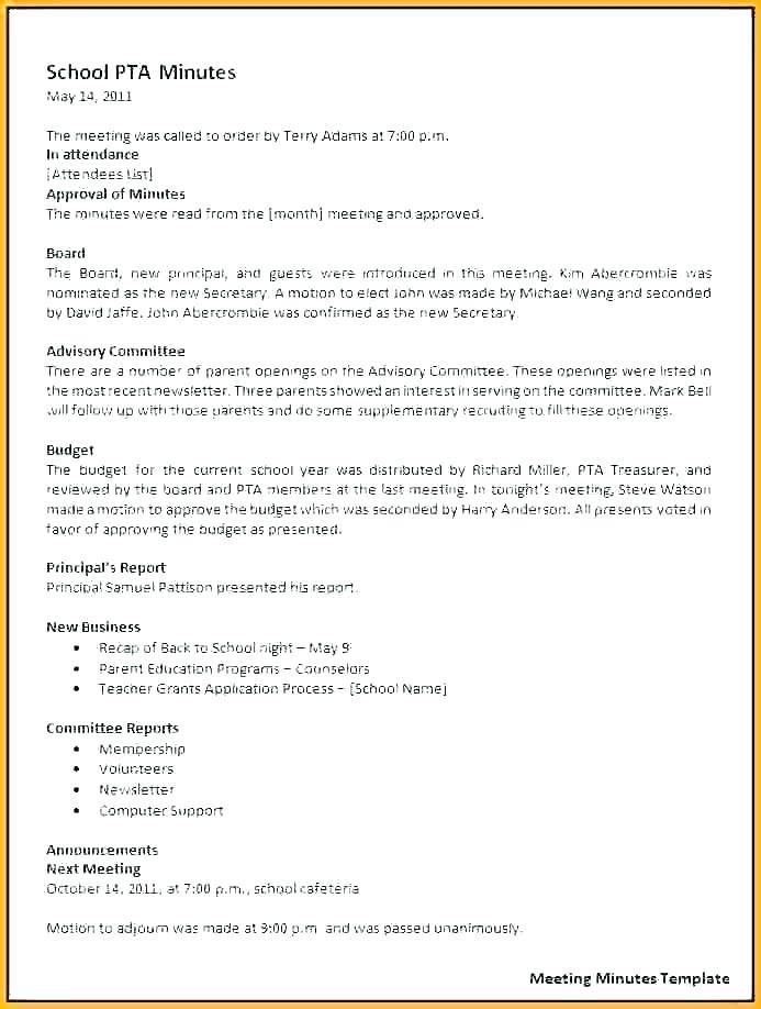 Pta Bylaws Example