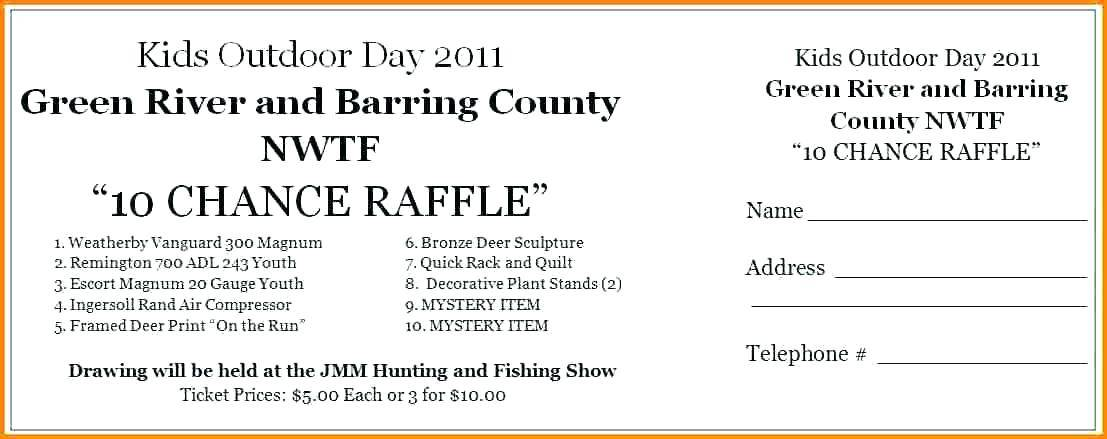 Publisher Template For Raffle Tickets