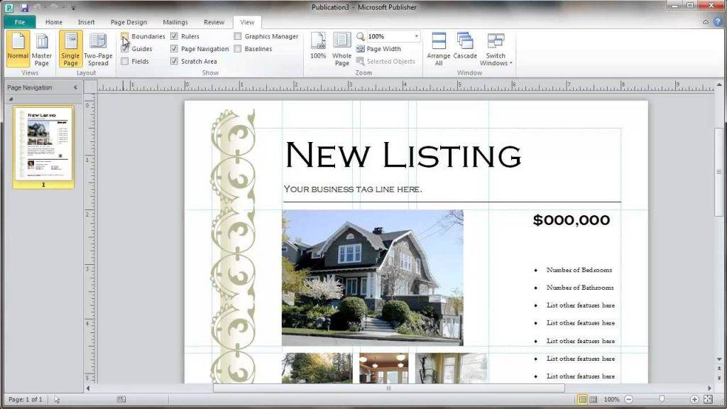Publisher Template Real Estate Flyer