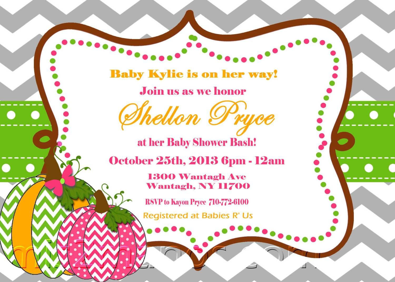 Pumpkin Baby Shower Invitation Templates