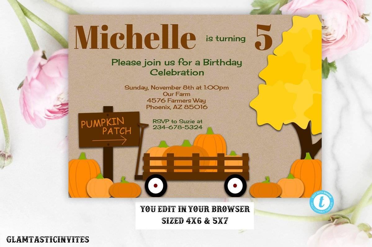 Pumpkin Birthday Invitation Template