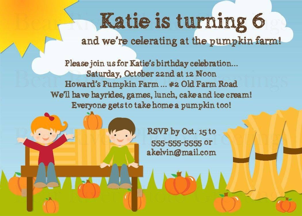 Pumpkin Patch Birthday Invitation Template