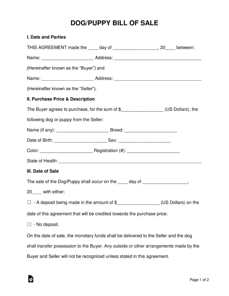 Puppy Sale Agreement Template