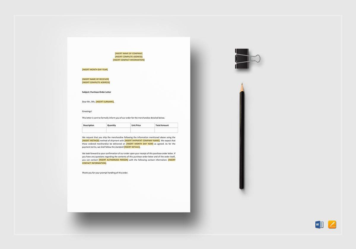 Purchase Order Letter Template Word