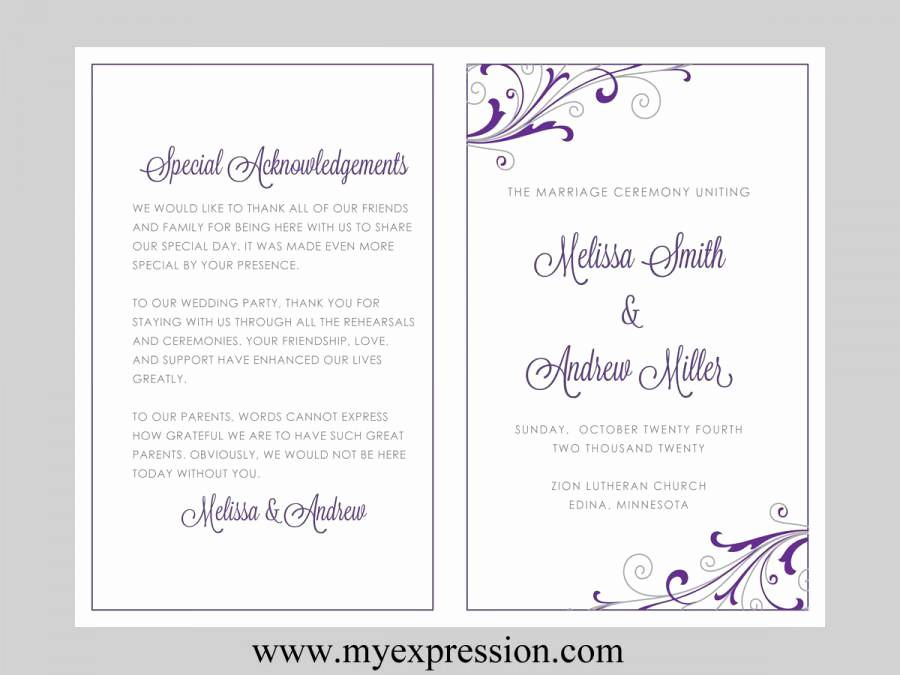 Purple Wedding Program Templates