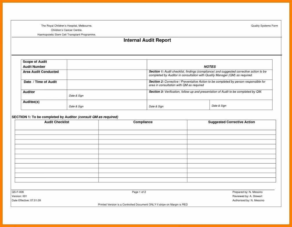 Qms Audit Report Template