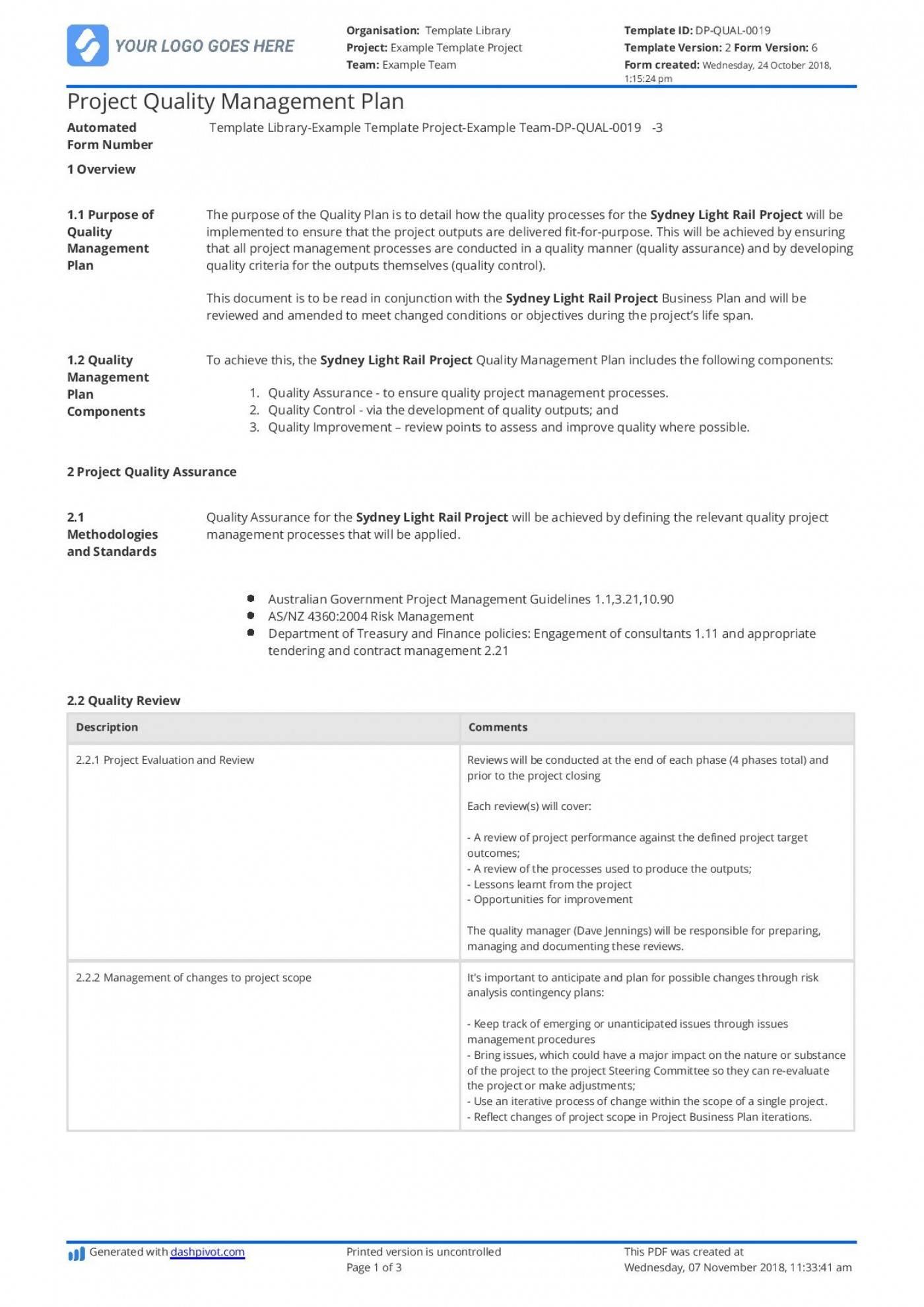 Quality Assurance Plan Example Australia