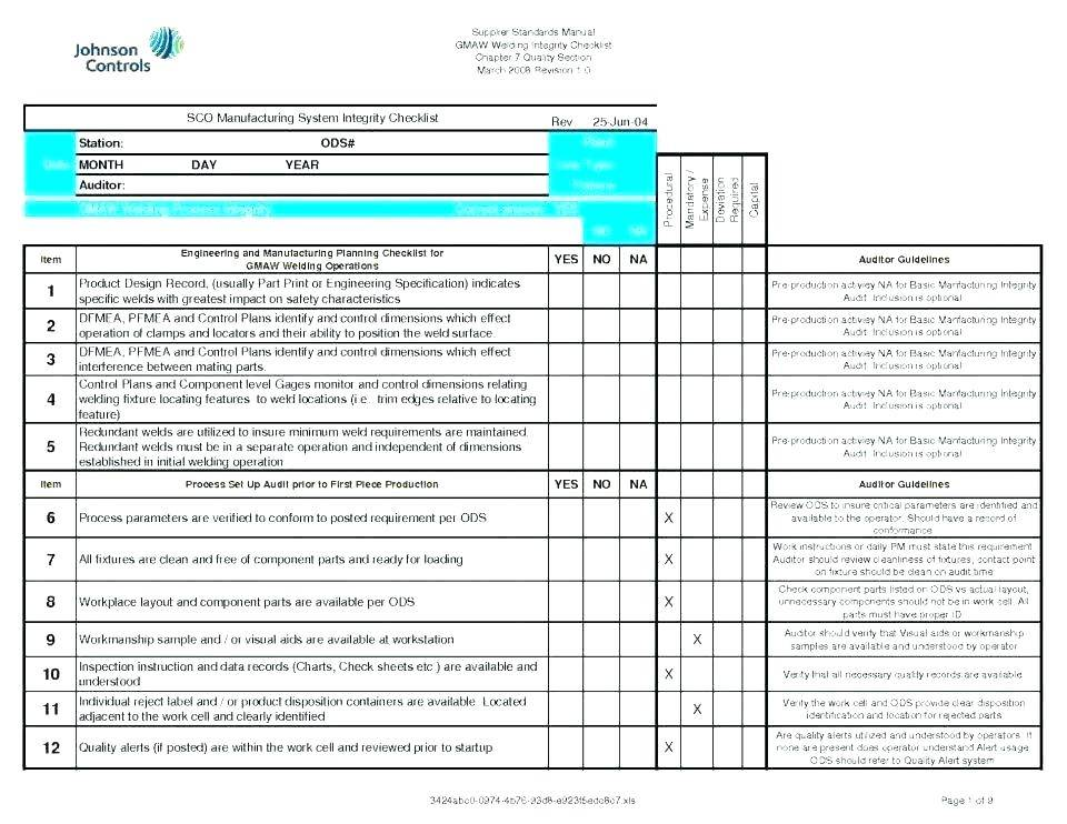 Quality Control Audit Checklist Template