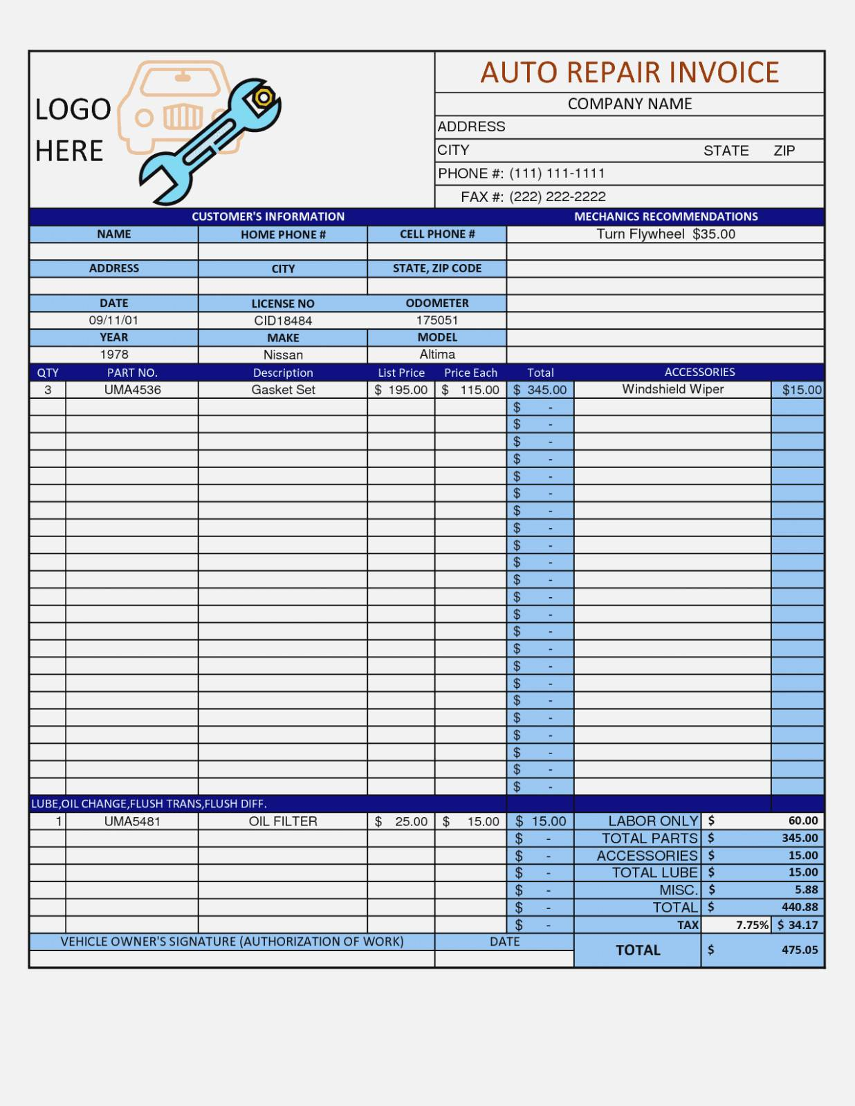 Quickbooks Auto Repair Template