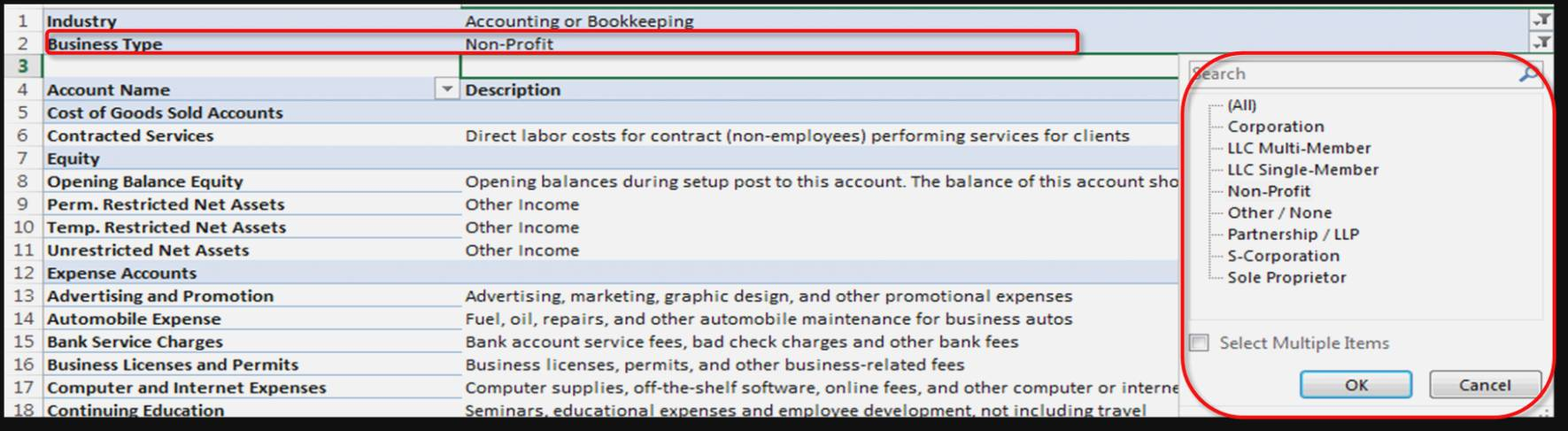 Quickbooks Chart Of Accounts Template Retail