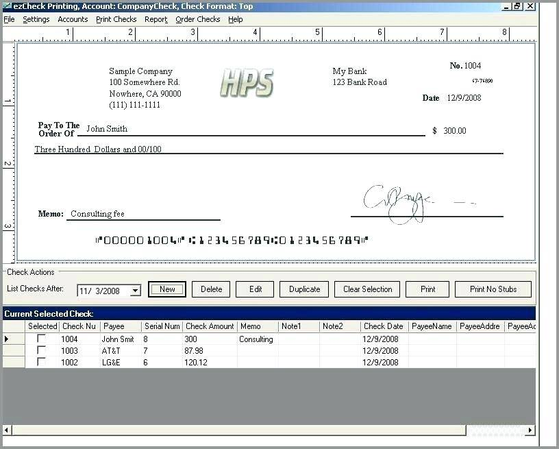 Quickbooks Custom Check Template