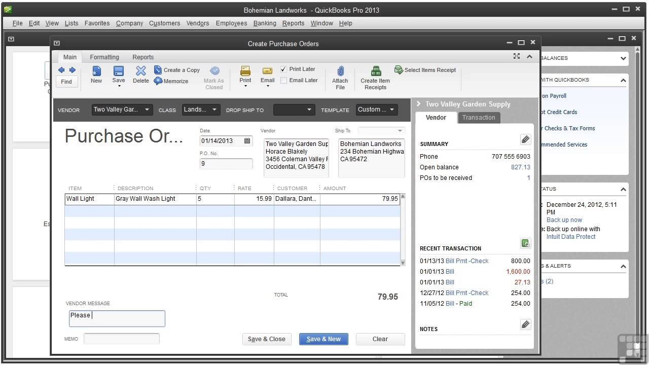 Quickbooks Default Sales Order Template