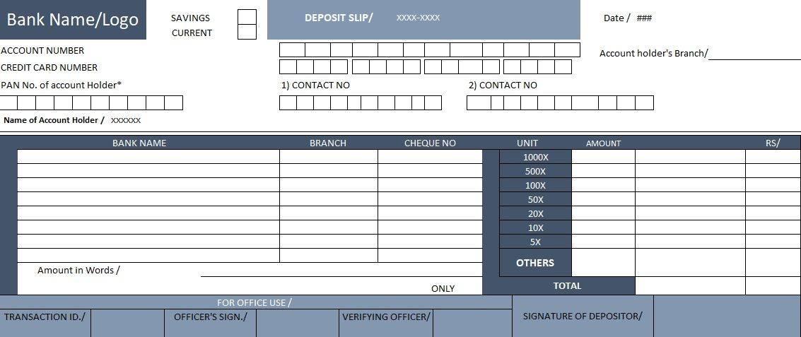 Quickbooks Deposit Slip Form Template
