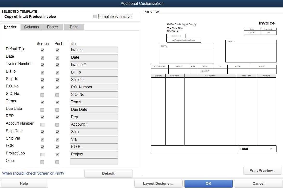 Quickbooks Invoice Layout