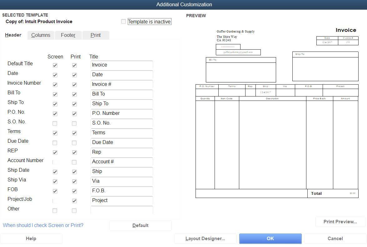 Quickbooks Invoice Template Change