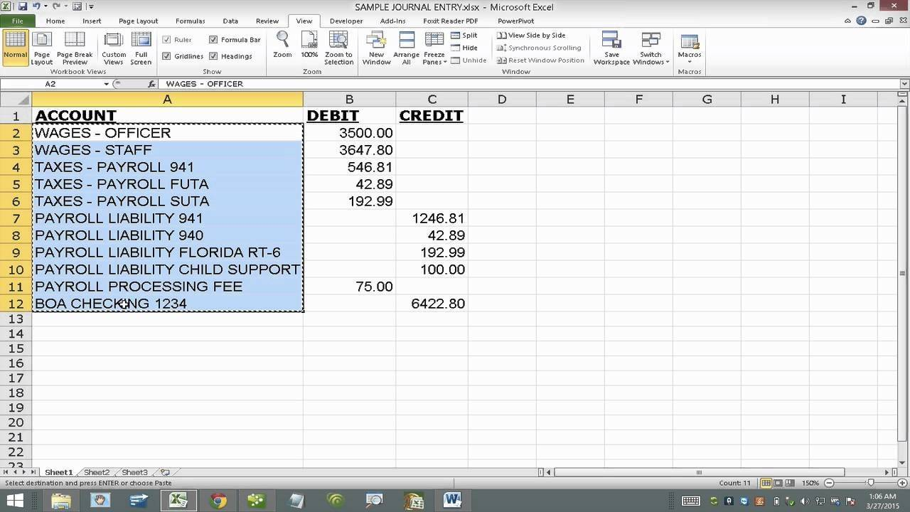 Quickbooks Journal Entry Import Template