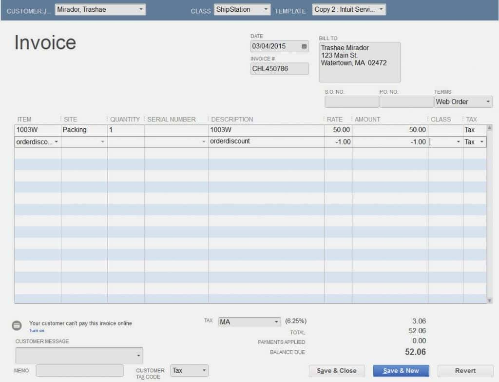 Quickbooks Online Add Invoice Template
