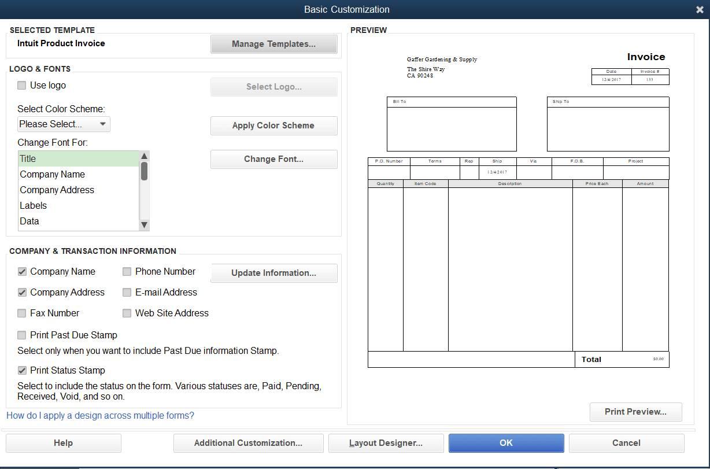 Quickbooks Pro 2016 Invoice Templates