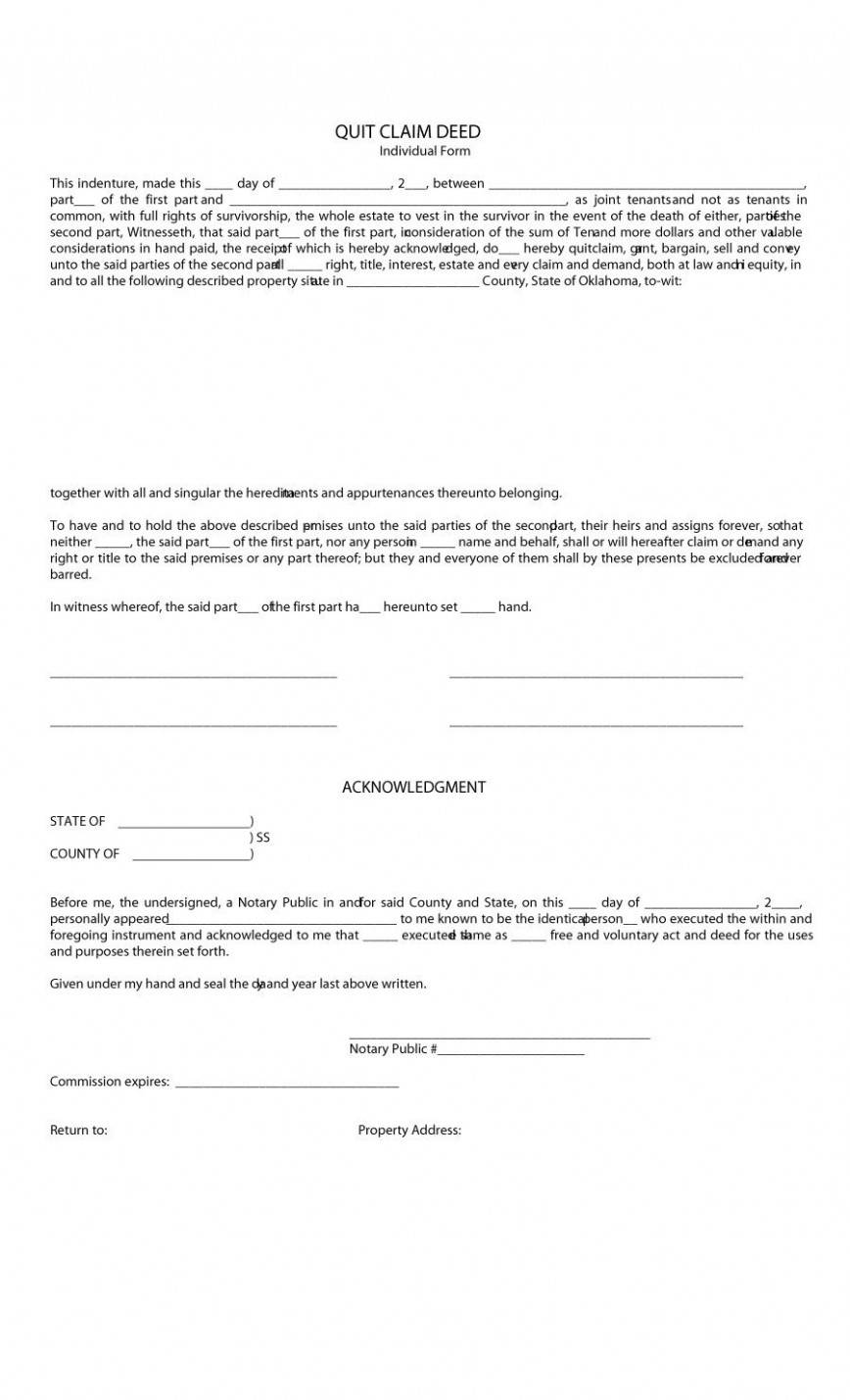 Quit Claim Deed Template Indiana